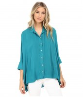 Miraclebody Jeans Solid Camp Shirt w/ Body-Shaping Inner Shell Teal Green