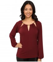 MICHAEL Michael Kors Chain Slit Neck Peasant Top Merlot